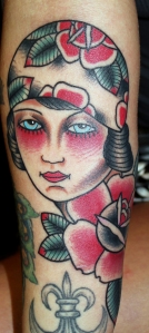 gypsy girl tattoo on Christy Mack by myke chambers