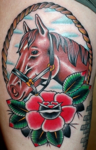 horse on thigh rope border tattoo myke chambers