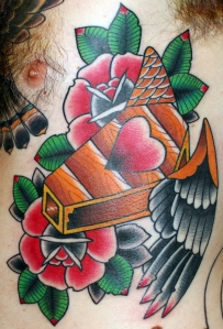Coffin with wings tattoo myke chambers