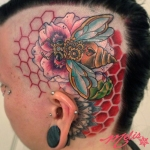 melissa fusco steampunk bee poppy flower honey comb tattoo