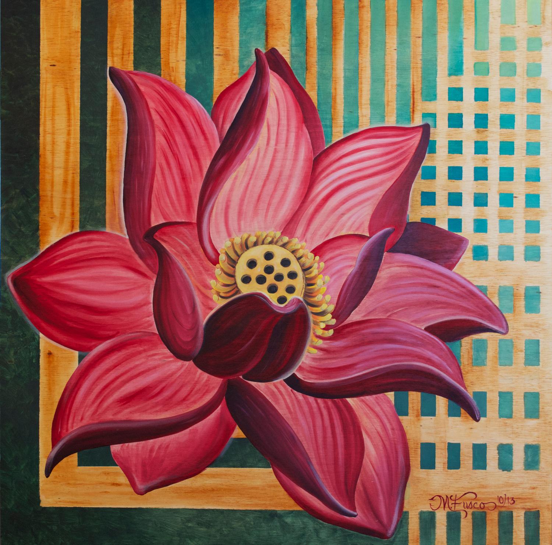 Melissa Fusco Lotus Flower painting oil on wood Medium Res