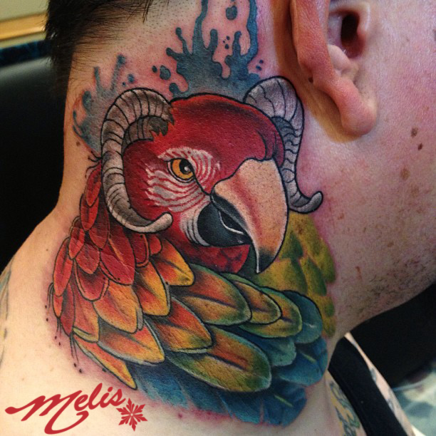 melissa fusco parrot bird neck tattoo goat horns colorado artist
